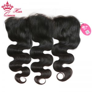 "Queen Hair Products Free Part Body Wave Lace Frontal Closure 13""x4"" Brazilian Virgin Hair Bleached slight Knots 100% Human Hair"