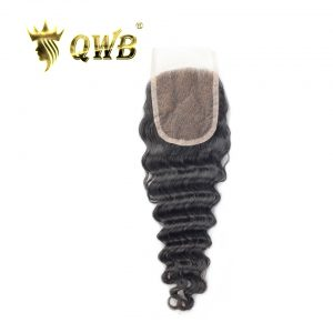 QWB Deep Wave Free shipping 12''/14''/16'' Brazilian Virgin Hair Nature Color Lace Closure