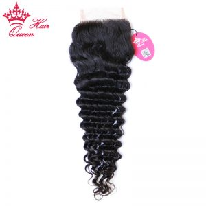 "Queen Hair Products Brazilian Virgin Hair Deep Wave Swiss Lace Closure 10""-20"" Natural Color 100% Human Hair Free Part"
