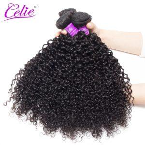 Celie Hair Curly Weave Human Hair 8-28 inch Brazilian Virgin Hair Bundle Natural Black Color Hair Weave Bundles
