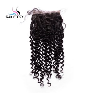 Sunnymay Unprocessed Brazilian Virgin Hair Deep Curly Closure Natural Hairline Bleached knots 5x5 Lace Closure With Baby Hair