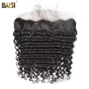 BAISI Brazilian Virgin Hair Closure Deep Wave Lace Frontal with Baby Hair Bleached Knots