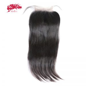 Ali Queen Hair 5x5 Lace Closure Pre-Plucked With Baby Hair Brazilian Virgin Human Hair Straight Closure Free Shipping