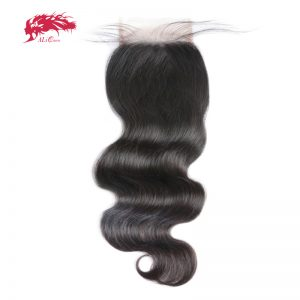 Ali Queen Hair 5x5 Lace Closure Pre-Plucked With Baby Hair Brazilian Body Wave Virgin Human Hair Closure Free Shipping