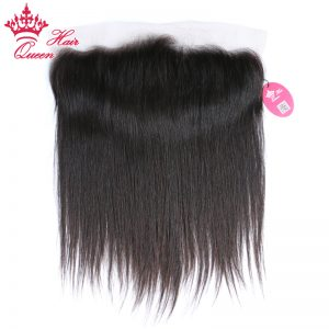 Queen Hair Brazilian Virgin Straight Hair 13x4 Lace Frontal Closure Natural Color 100% Human Hair Medium Brown Swiss Lace