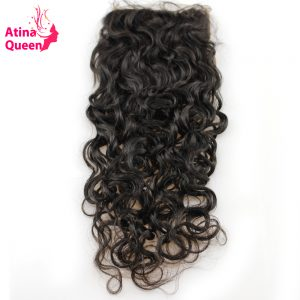 Atina Queen Wet and Wavy Virgin Brazilian Hair 10-20inch 4*4 Human Hair Lace Closure with Baby Hair Free Shipping