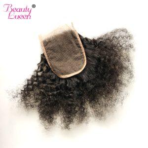 Brazilian Virgin Hair Afro Kinky Curly Hair Lace Closure Free Part 4*4 Human Hair Closure Natural Color Free Ship Beauty Lueen