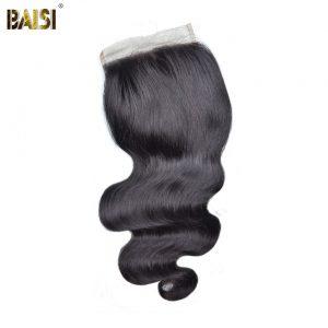 BAISI Peruvian Body Wave 5*5 Swiss Lace Closure,100% Virgin Hair Free Shipping