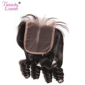 Peruvian Virgin Hair Bouncy Curly Weave Human Hair Lace Closure Swiss Lace 4x4 Middle Part Closure With Baby Hair Beauty Lueen
