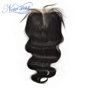 New Star Hair Peruvian Body Wave Lace Middle Part Closures 4''x4'' Swiss Lace Natural Color Virgin Human Hair With Baby Hair