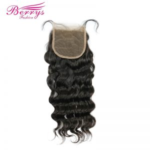 [Berrys Fashion]Peruvian Virgin Hair Loose Wave Lace Closure 4*4 Virgin Human Hair Free Part Bleached Knot Closure Natural Color