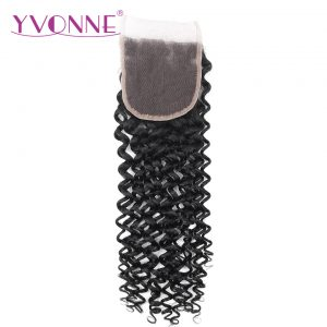 YVONNE Malaysian Curly Lace Closure 4x4 Free Part Virgin Human Hair Closure Natural Color Free Shipping
