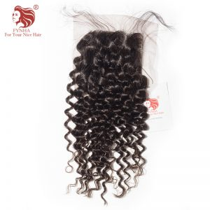 [FYNHA] Malaysian Curly Hair Lace Closure Virgin Hair Natural Color Free Part 4''x 4'' Free Shipping