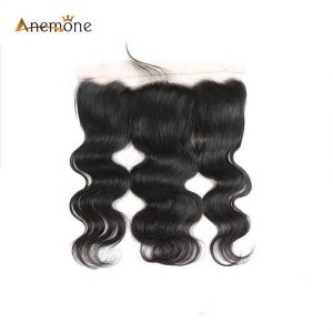 Anemone Hair Products Body Wave Lace Frontal With Baby Hair (13*4) Indian Human Virgin Hair Closure Natural Color 8-20 inches