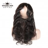 Wiggins Brazilian Hair Body Wave 360 lace frontal With Baby Hair 100% Non Remy Human Hair Natural Color  Free Shipping