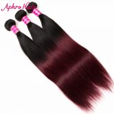 Aphro Ombre Brazilian Hair Straight Hair Bundles Color 1B/99J Ombre Hair Bundls Non-Remy Human Hair Weave 1 Piece Free Shipping
