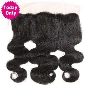 [TODAY ONLY] Brazilian Body Wave Bundles 13x4 Ear to Ear Lace Frontal Closure With Baby Hair Human Hair Bundles Non Remy Natural