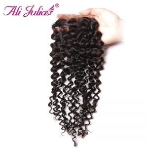 Ali Julia Malaysian Curly Lace Closure Free Part 120% Density Natural Color Non Remy Human Hair 10 inches to 20 inches
