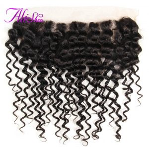 Alishes Hair Products Malaysian Curly Hair Lace Frontal 13*4 Free Part Bleached Knots Ear to Ear Non-Remy Human Hair Can Be Dyed