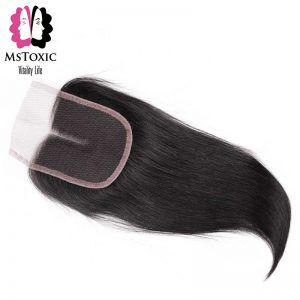 Mstoxic Lace Closure Malaysian Straight Non-Remy Hair Middle Part #1b Color Human Hair 4''x 4'' Free Shipping