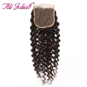 Ali Julia Three Part Malaysian Curly Human Hair Lace Closure 120% Density Non Remy Natural Color 10-20 Inches