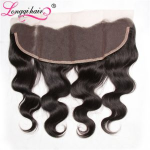 Longqi Hair 13x4 Free Part Malaysian Body Wave Lace Frontal Closure 120% Density Non-Remy Human Hair 10-20 Inch
