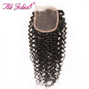 Ali Julia Products Malaysian Curly Middle Part Closure Non Remy Natural Color 10-20 Inches Human Hair with Swiss Lace Free