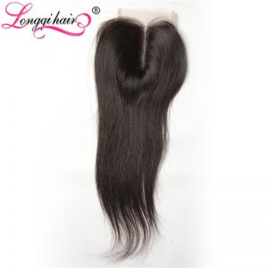 Longqi Hair Company Malaysian Straight Lace Closure Middle Part 4x4 Hand Tied Non-Remy Hair 100% Human Hair Free Shipping