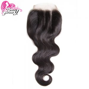 Beauty Forever Malaysian Hair Lace Closure Body Wave Non-Remy Human Hair 4*4 Three Part Closure 120% Density Natural Color