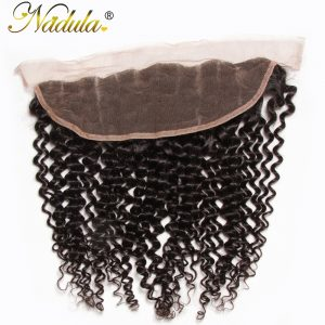 Nadula Hair 10-20INCH Free Part Malaysian Curly Hair Closure Piece 13x4 Lace Frontal Non Remy Hair Weave Medium Brown