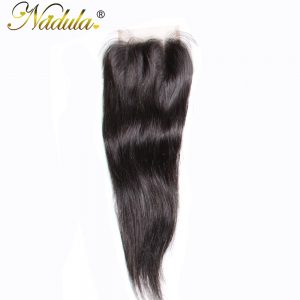 Nadula Hair 4*4 Three Part Malaysian Straight Hair Closure 100% Human Hair Extensions Non-Remy Hair Lace Closure 10-20inch