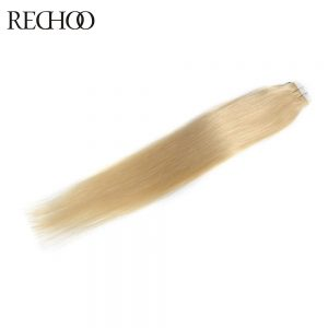 Rechoo Tape In Hair Extension 100% Human Hair #613 Color 50G/Pcs 16 24 Inch Straight Non-Remy Brazilian Hair Tape In Hair