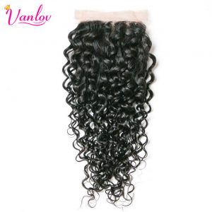 Vanlov Malaysian Water Wave Lace Closure 4x4 Free Part Non Remy 100% Human Hair Weave Natural Black Free Shipping