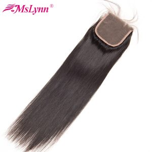 Mslynn Malaysian Straight Hair Closure Free Part 4x4 Non Remy Human Hair Lace Closure With Baby Hair Medium Brown