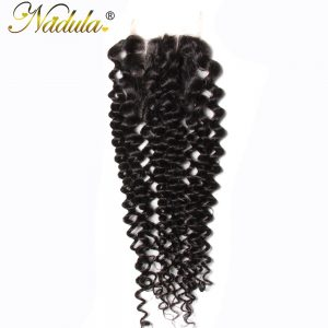 Nadula Hair 4*4 Three Part Malaysian Curly Closure Non Remy Hair Weave 100% Human Hair Swiss Lace Closure Free Shipping