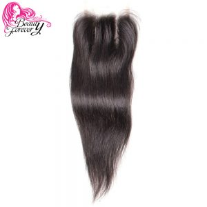 Beauty Forever Lace Closure Malaysian Straight Hair 4*4 Three Part Non-remy Human Hair Natural Color 10-20 inch Free shipping