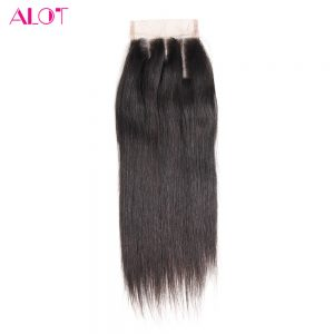 ALOT Hair Straight Lace Closure 4x4 Three Part 100% Human Hair Natural Color 8-18Inch Malaysian Non-Remy Hair With Baby Hair