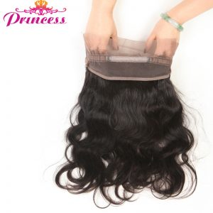 Beautiful Princess Malaysian Body Wave Pre Plucked 360 Lace Frontal Closure With Baby Hair Non-remy Human Hair Closure