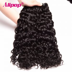 ALIPOP Malaysian Water Wave Bundles Human Hair Bundles Non Remy Hair Extension Natural Black Color 1pc/lot Can Be Dyed