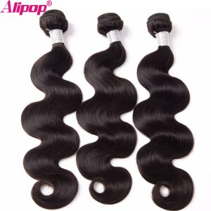 ALIPOP Malaysian Body Wave Bundles Human Hair Bundles Non Remy Hair Extensions 1 Bundle Natural Black No Tangle No Shedding