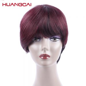 Huangcai short human hair wigs 10 Inch Bob straight for Blcak Women Can be styled natural color and 1b/99j burgundy Non Remy