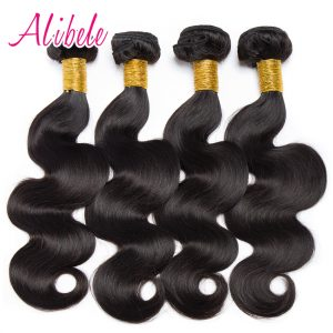 """Alibele Malaysian Body Wave Bundles 10-28"""" Free Shipping Natural Color 1B Dyable Non Remy Hair Extensions 100% Human Hair Weaves"""