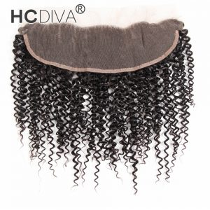 HCDIVA Kinky Culry Malaysian Non Remy Hair Lace Frontal Free Part Natural Color 8 inch -18 inch Swiss Lace 13*4 with Baby Hair