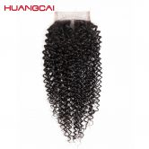 Huangcai Curly Human Hair Middle Part Closure 4x4 Hand Tied Non Remy 8-18 Inch 130% Density Natural Black Color