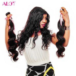 ALot Hair 100% Human Hair Bundles Malaysian Body Wave Hair 1 Piece Natural Color Non-Remy Hair Weaves 8-28 Inch Free Shipping