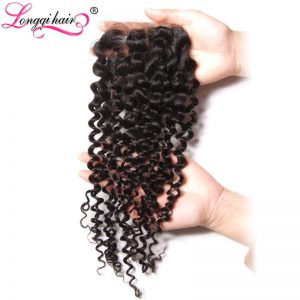 "Longqi Hair Malaysian Curly Hair Lace Closure Three Part 4""x4"" 10-20 Inch 120% Density Human Non-Remy Hair Free Shipping"