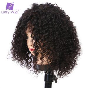 Luffy Natural Color Malaysian Non Remy Hair Full Lace Short Curly Human Hair Wigs For Black Women With Baby Hair High Ponytail