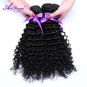 Alidoremi Malaysian Deep Wave Hair Weave Bundles 100% Human Hair Weaving Nature Color Non-Remy Hair Free Shipping