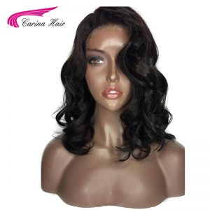 Carina 150% Density  Malaysian Non-Remy Human Hair Color 1b Deep Wave Short Lace Front Human Hair Wig with Baby Hair Pre-Plucked