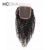 HCDIVA Malaysian Kinky Curly Lace Closure 4*4 Middle Part Side Human Hair Closure With Baby Hair Natural HairLine Non Remy Hair